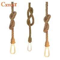 2015 Retro Vintage Rope Pendant Light Lamp Loft Creative Personality Industrial Lamp Edison Bulb American Style