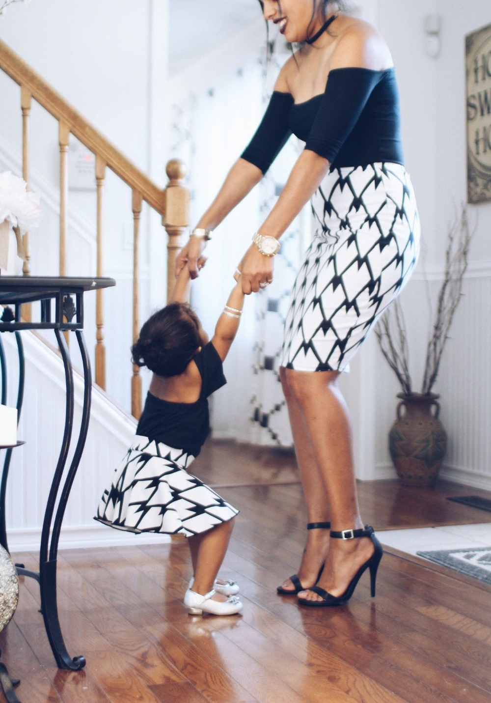 adsfay.com Mama-And-Daughter-Dress-Clothing-Family-Matching-Outfits-Mother-Girl-Dress-Short-Cotton-Mom-And-Daughter