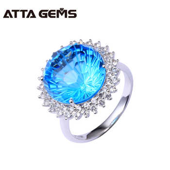 Natural Blue Topaz Real 18 White Gold Ring 12 Carats Natural Blue Topaz Firework Cutting Real Diamond Top Quality Ring - DISCOUNT ITEM  8% OFF All Category