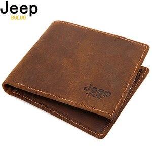 Image 1 - JEEP BULUO Luxus Marke Männer Brieftaschen Business Kuh Echtes Leder männer Karte Geldbörse Top Qualität Kurze Carteira Masculina