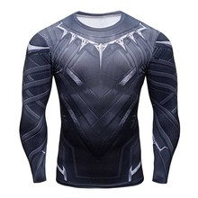 Panther Long Sleeve 3D Printed Sports T-Shirts Men Gym Fitness Running Compression Quick-Dry High Elastic Bodybuilding Shirts