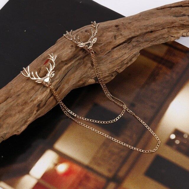 Fashion Deer Geweih Tier Brosche Pins Abzeichen Hemd Kragen Nadel Gold Metall Kette Quaste Revers Pin Frauen Männer Weihnachten Schmuck