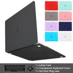 Премиум матовый чехол для MacBook Air 11 12 дюймов, рукав для ноутбука Macbook Pro 13 15 Touch Bar 2019 Touch ID 2018 + чехол для клавиатуры