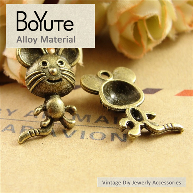 BoYuTe (100 Pieces/Lot) 18*20MM Fashion Antique Bronze Plated Metal Mouse Charms Pendants for Diy Jewelry Making Accessories
