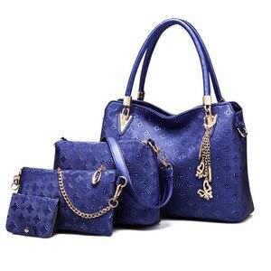 Image 2 - Women Top Handle Bags Female Composite Bags Women Messenger Bags Handbag Set PU Leather Wallets Key Bag Set