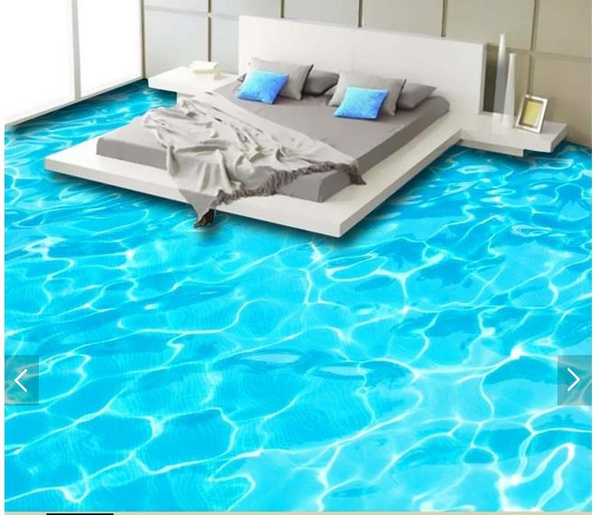 3d wallpaper custom 3d flooring painting wallpaper murals Beautiful HD blue water bathroom floor 3d living room photo wallpaer