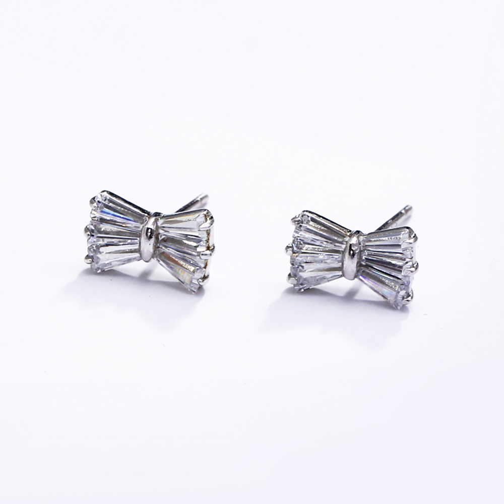 small bow silver earrings (2)