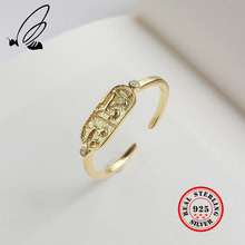 Nordic Style Animal Ring Authentic 925 Sterling Silver Gold Color Thin European Open Rings For Women Fine Vintage Jewelry