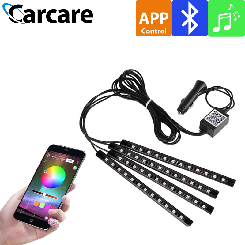 4 Pieces Interior Car RGB Bluetooth APP Remote Control Light Music Voice Control Auto LED Lighting Strip LED Light RGB LEDS Tape