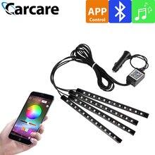 4 штук интерьер автомобиля RGB Bluetooth APP дистанционного Управление Light Music голос Управление автомобильное светодиодное освещение линейное светодиодное освещение RGB светодиодный S ленты