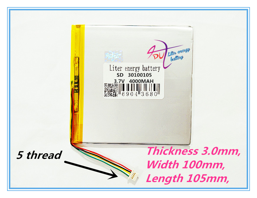 5 thread best battery brand 3.7 lithium polymer battery 30100105 3.7V 4000MAH 32100106 mobile power DIY tablet computer 27103107 free shipping 3 7 v 5000 mah tablet battery brand tablet gm lithium polymer battery 3088128