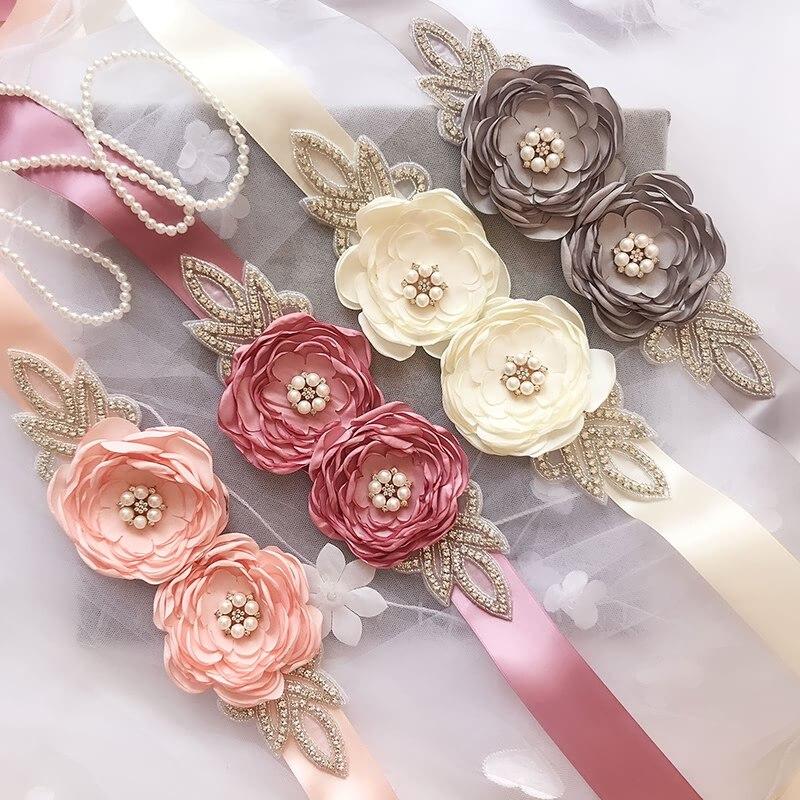 57f6b348 Flor flor perla Diamante de imitación hoja cinturón mujeres flor chica Rosa  boda fajas cintas ...