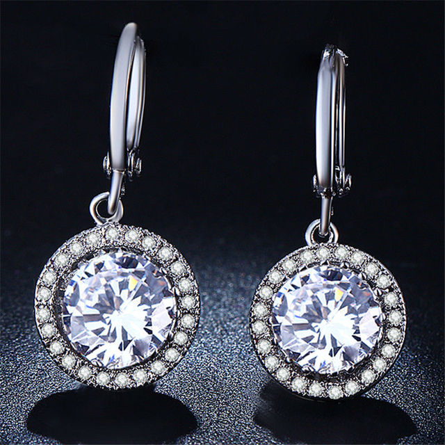 New Fashion White Gold Plated Earrings for Women Cubic Zircon Clear Crystal Channel Drop Earrings Jewelry Gift  R021