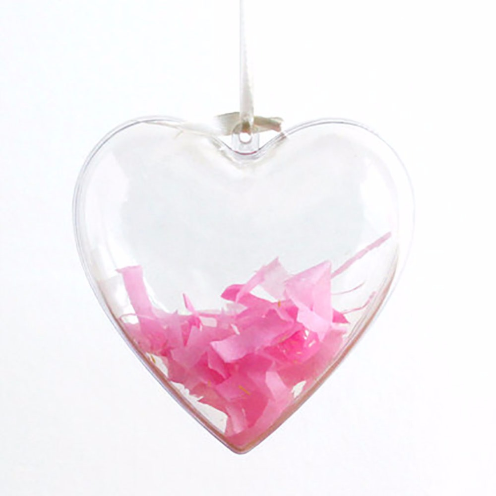 Clear fillable plastic ornaments - Pack Of 6 Clear Diy Heart Shaped Hollow Plastic Fill Able Ball Ornament