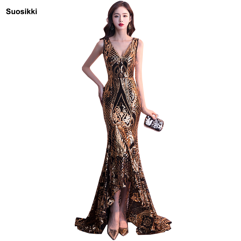 Suosikki <font><b>2018</b></font> New Double-V Long Evening <font><b>Dress</b></font> <font><b>vestido</b></font> <font><b>de</b></font> <font><b>festa</b></font> <font><b>Sexy</b></font> Backless Luxury Gold Sequin formal party <font><b>dress</b></font> prom gowns image