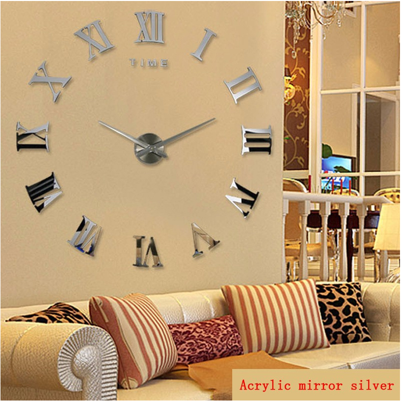 2019 New Home Decoration Quartz Metal 3D Mirror Wall Clock Fashion Personality DIY Circular Living Room Wall Watch