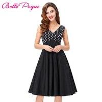 2016 Women Patchwork Dress Summer Sleeveless V Neck Knee Length Robe Vintage Cothing Polka Dot Print