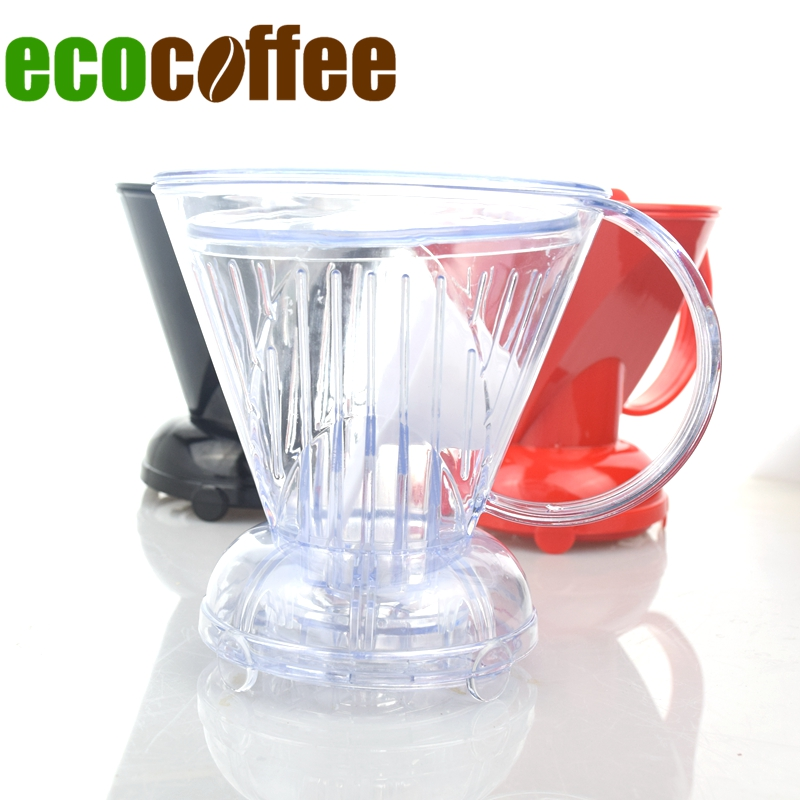 Heat Resistant Plastic Coffee Percolator V60 Coffee Brewer Clever Barista Tool Tea Brewering Cup with Handle Spoon & Filter Free