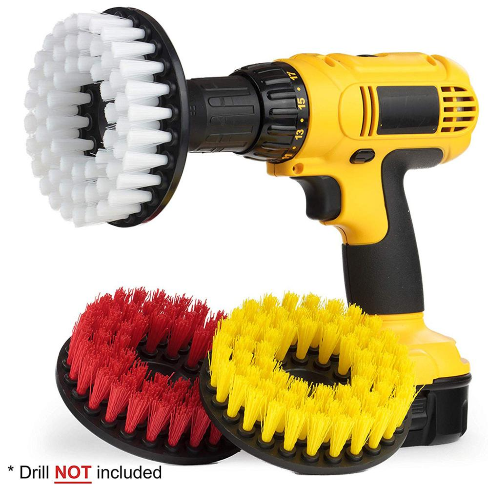 3pcs//set Cleaning Drill Brush Cleaner Combo Tool Kit Electric Drill Scrubber Hot