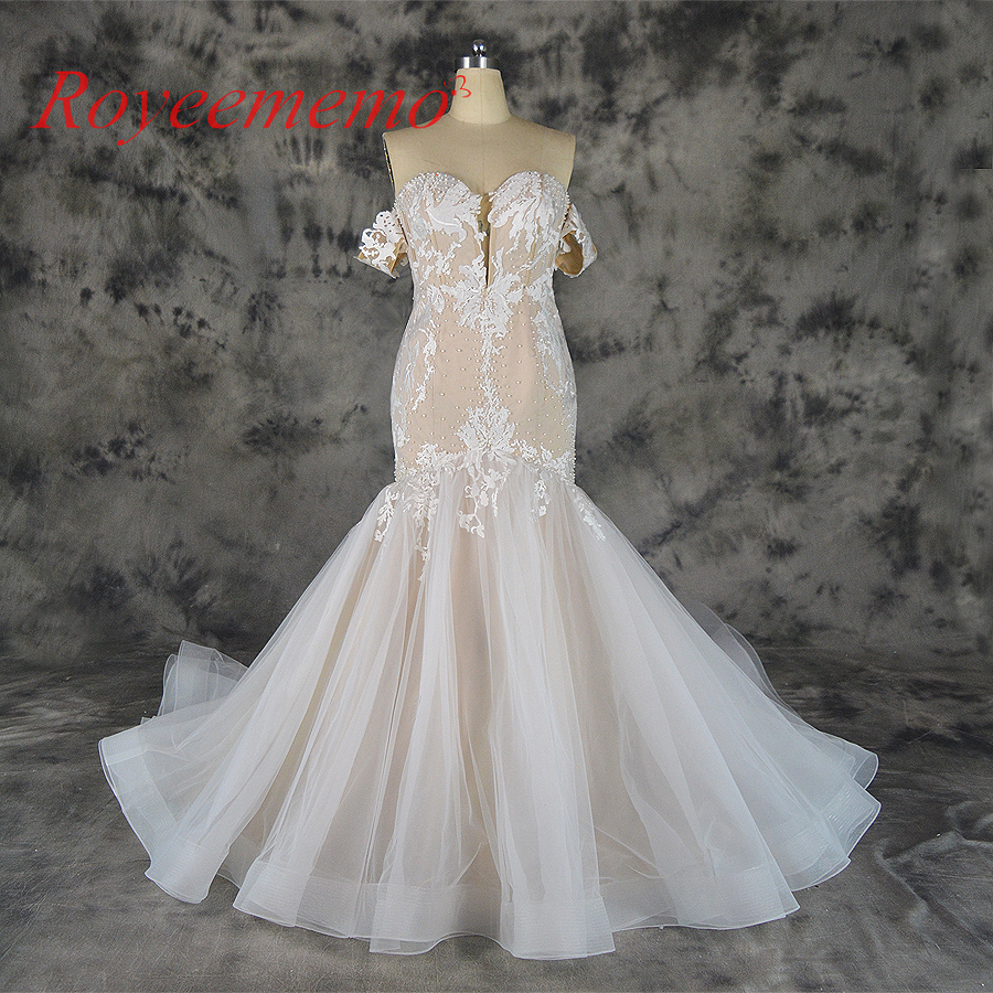 2019 hot sale lace mermaid detachable sleeves Wedding Dress nude satin Bridal gown custom made wedding