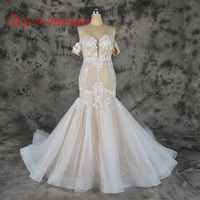 2018 hot sale lace mermaid detachable sleeves Wedding Dress nude satin Bridal gown custom made wedding gown factory directly