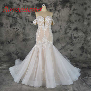 2019 hot sale lace mermaid detachable sleeves Wedding Dress nude satin Bridal gown custom made wedding gown factory directly - SALE ITEM Weddings & Events