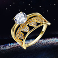 New Beauty Romantic Women Fashion Rings  Gold Rhodium Plated Big Clear Stone AAA Cubic Zirconia For Anniversary Accessories