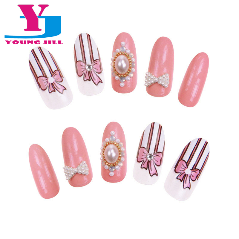 24pcs/set 3D Pearl Decorated False Nail Tips Romantic Fashion Acrylic Nails With Glue Stiletto Nail Tip Long Fake Nails Bride