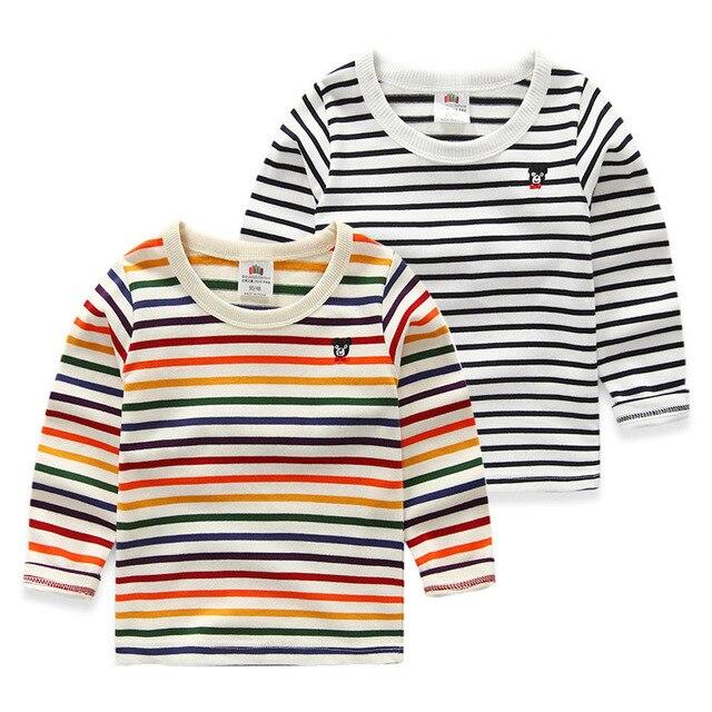 Дети полоса рубашка основной 2016 весна детская одежда мальчиков девушки одежда верхняя одежда ребенка медведь футболка