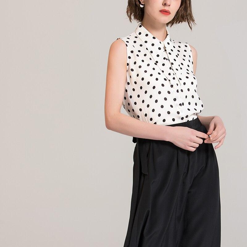 Blusa de mujer 100% seda Real sin mangas punto impreso Oficina señora blusas 2019 Primavera Verano nueva camisa blanca-in Blusas y camisas from Ropa de mujer    2
