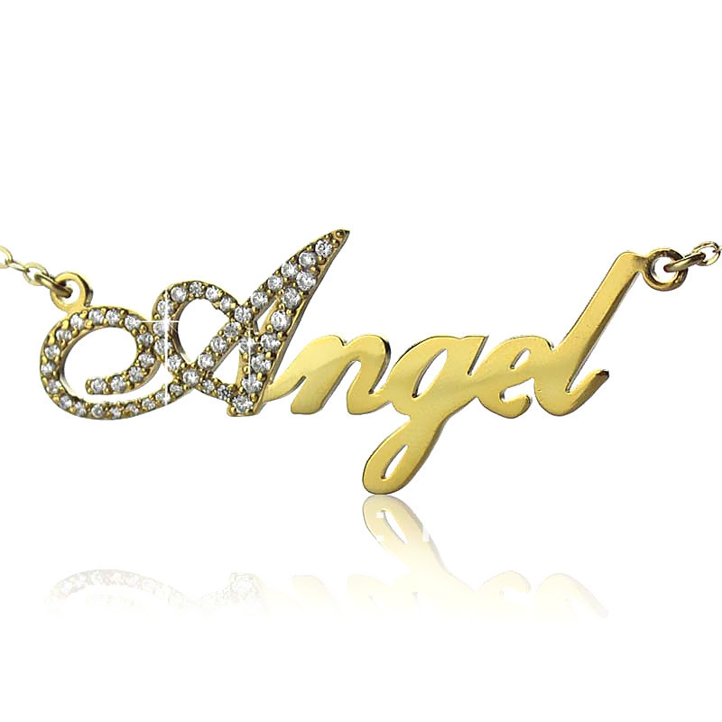 AILIN Freeshipping- Sterling Silver Capital Letter Name Necklace Gold Color Personalized Nameplate Pendant Letters Jewelry beurself oversized capital initial necklace custom name large 26 letters alphabet punk style gold color alloy jewelry for women
