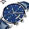 NIBOSI 2018 Fashion Watch Men Top Luxury Brand Sports Quartz Watch Leather Band Waterproof Men Casual