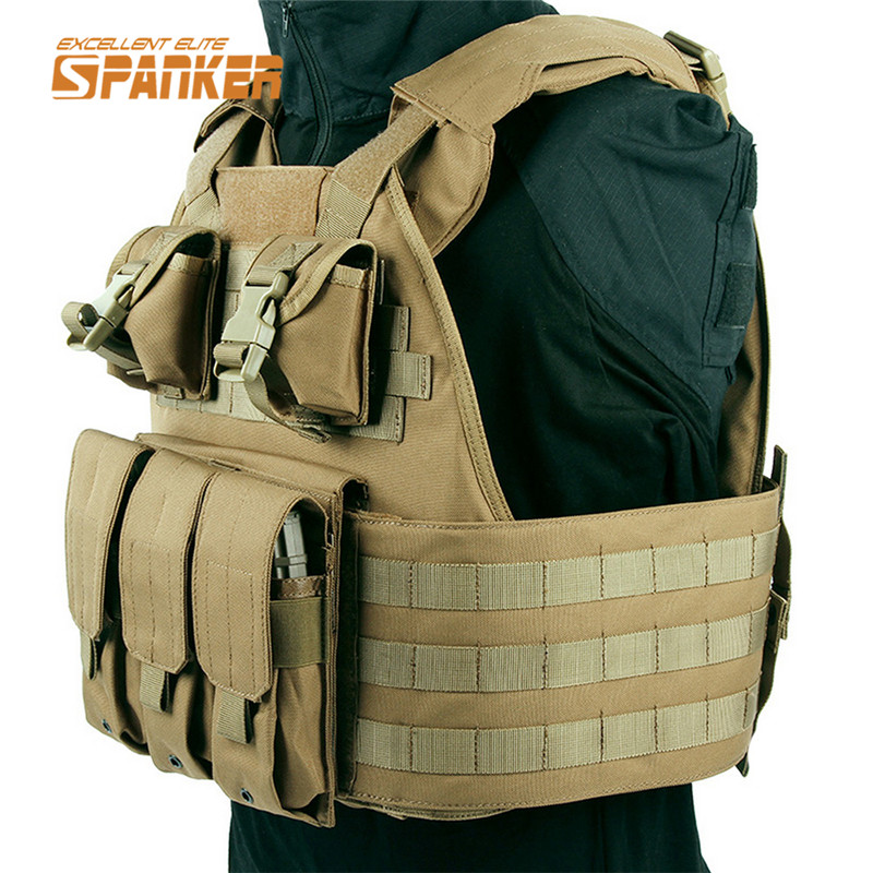 SPANKER SPC Tactical Molle Vest Airsoft Paintball Military Vest Wargame Body Armor Hunting Vests Outdoor Equipment Chest Rig