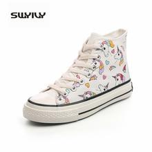 Swyivy 여성 캔버스 신발 2019 가을 학생 하이 탑 화이트 스니커즈 유니콘 귀여운 만화 신발 여성 스니커즈 플랫폼 레인보우