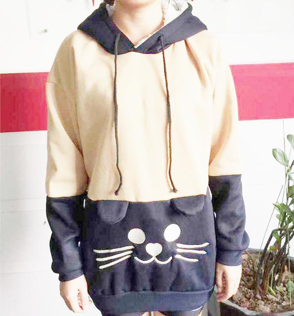 Cute Japanese Mori Kawaii Girl Lolita Cat Face & Tail Hoodie