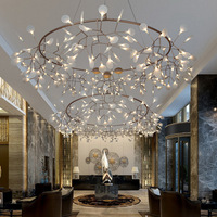 Nordic chandelier modern minimalist style creative restaurant warm bedroom lamp living room lamp branch firefly lamp LED