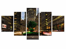 Wholesale 5 pieces / set of bustling city night wall art for decorating home Decorative painting on canvas /XC-City-47