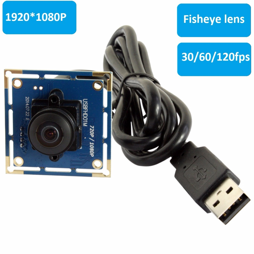 2MP Cmos OV2710 Wide Angle 180 degree fisheye Android Usb Camera Module 1080P free driver UVC for Industrial Machine Vision ELP