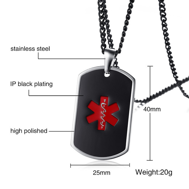 Engraved Mens Medical Alert ID Dog Tag Necklace Pendant Stainless Steel 1