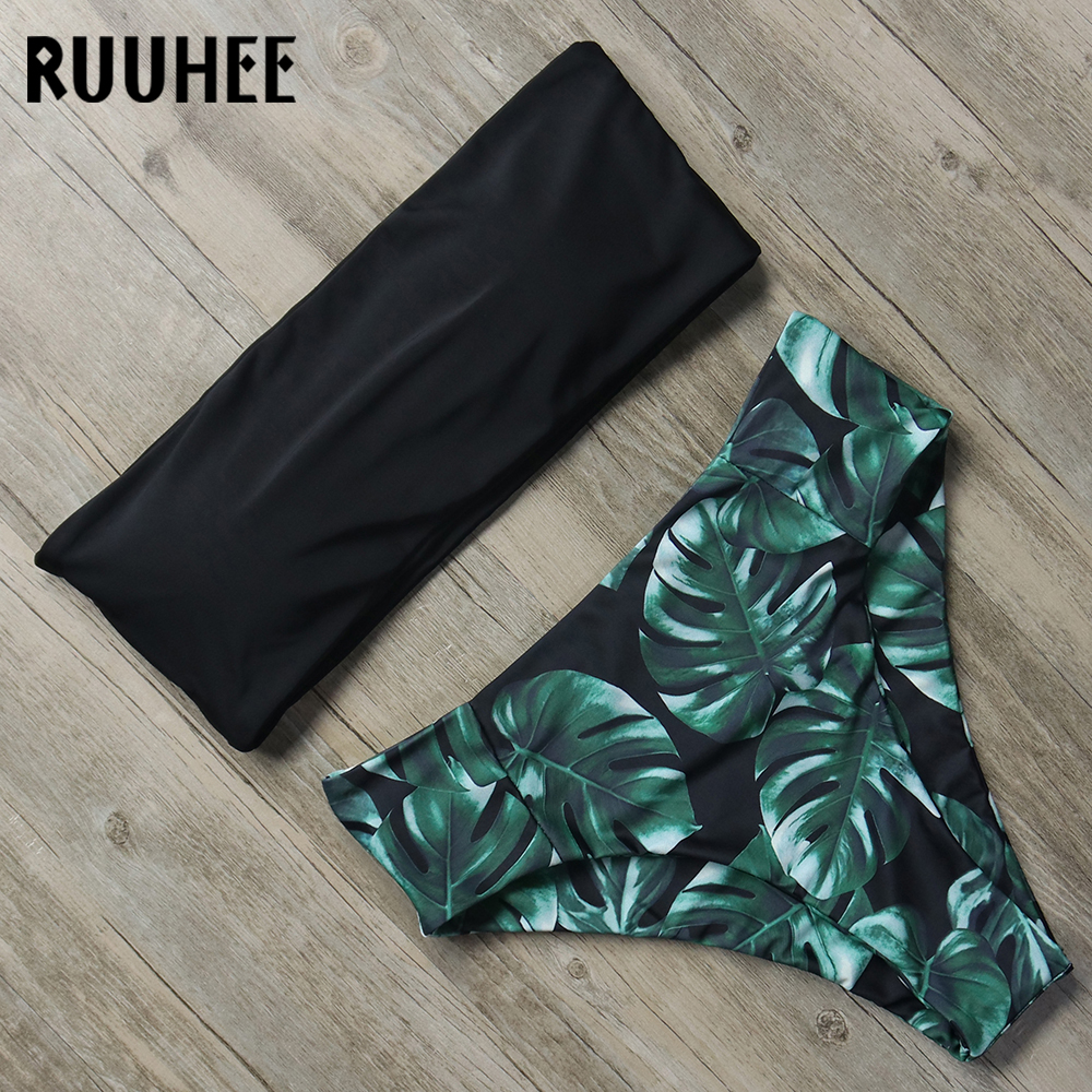 RUUHEE Bandage Bikini Swimwear Women Swimsuit High Waist Bikini Set 2018 Bathing Suit Push Up Maillot De Bain Femme Beachwear tank heart new black white print bikini set women sexy bandage bathing suit halter lace swimsuit swimwear solid beachwear