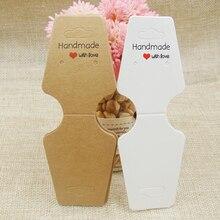 أبيض/كرافت مجوهرات عرض بطاقات مطبوعة اليدوية مع الحب معلقة مخصصة الجملة قلادة سوار القرط Packaing لل