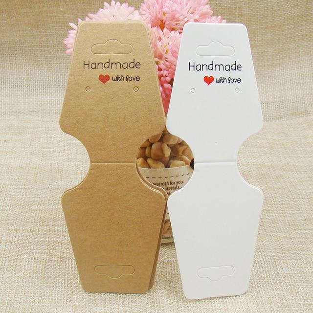 White Kraft Jewelry Display Cards Printed Handmade With Love