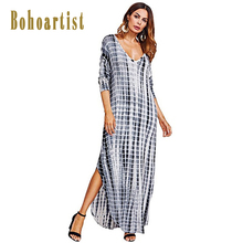 Bohoartist Wome Maxi Dress Gradient Print V Neck Tie Dye Long Dress Hippie Bohemian Ladies Beach Vacation Summer Maxi Dresses(China)