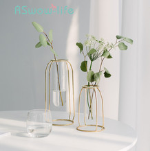 Simple Gold-plated Wrought Iron Glass Vase Creative Test Tube Flower Arrangement Desktop Decoration