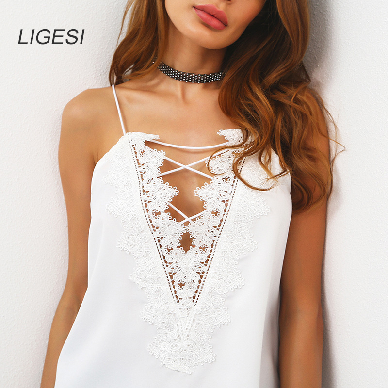 LIGESI 2017 Summer Tops Women Camisole Lace Patchwork Solid Deep V-neck Bandage Casual Tank Casual Party Club Tops