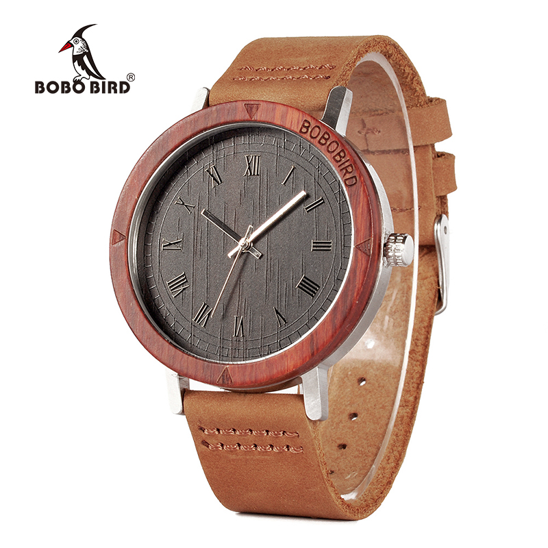 BOBO BORD New Arrival K05 Mens Womens Ebony Wood Wristwatch Wood Bezel Stainless Steel Back Case Quartz Watch in Gift Box bobo bird brand new sun glasses men square wood oversized zebra wood sunglasses women with wooden box oculos 2017