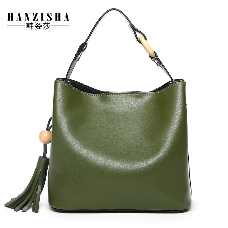2018 Fashion Genuine Leather Women Bucket Soft Bag Casual Tassel Leather Women Handbag Famouse Brand Women Bucket Crossbody Bag
