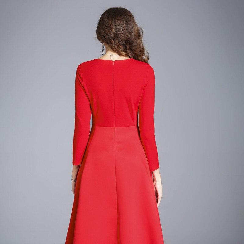 9f59653c4031 Rosso Vestito Di Signora Vestido Donna Della 2019 Borgogna Dell ufficio  Breve Vestiti Elegante Donne Inverno Abito Abbigliamento Autunno Fc17wdr55  npwxqtIW