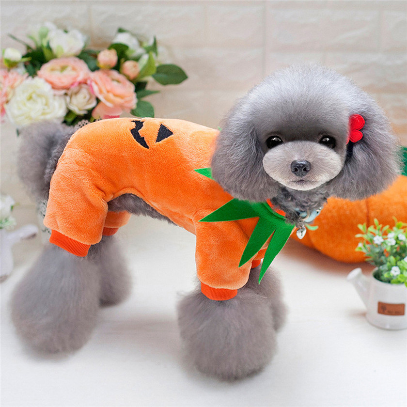 2017 hot sale new arrival Halloween Pumpkin Cool Cute Dog Pet Cosplay Costume Coral Velvet Clothing #0811 B