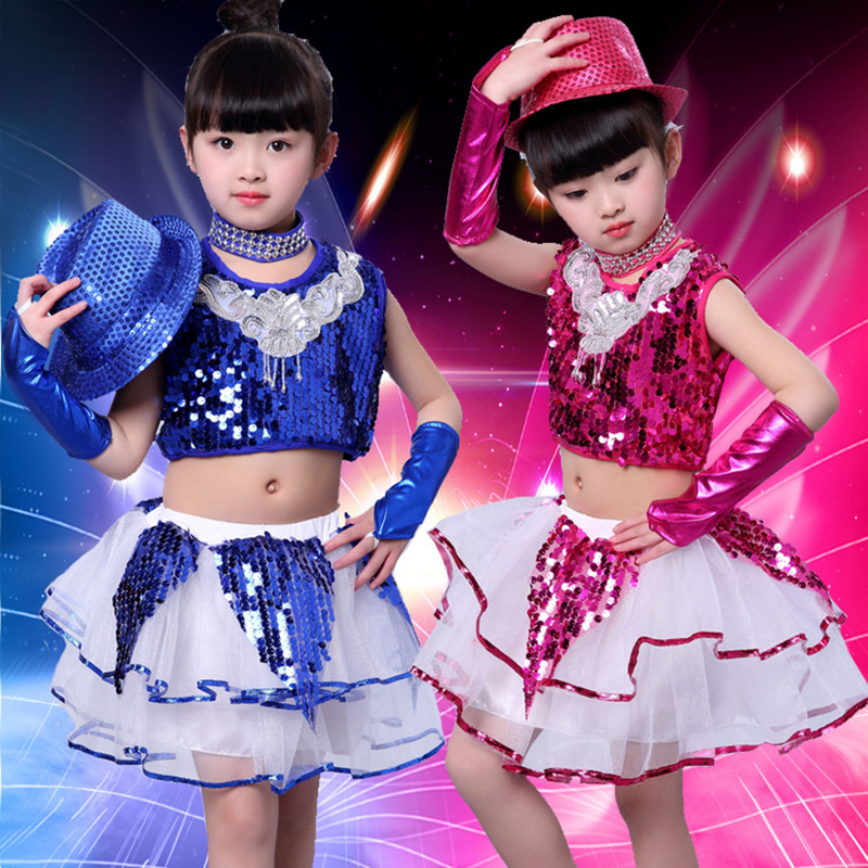 Children's day performance girl's jazz performance sequins modern dance stage costumes bubble skirt JQ-060